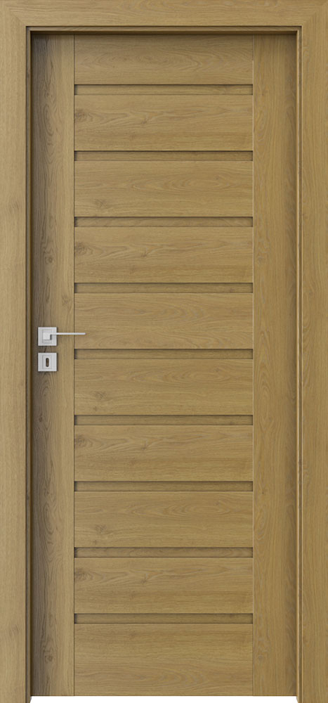 Ecco Natural Oak Solid Wood Front Entry Door - Single - DBEV-CNT-A0