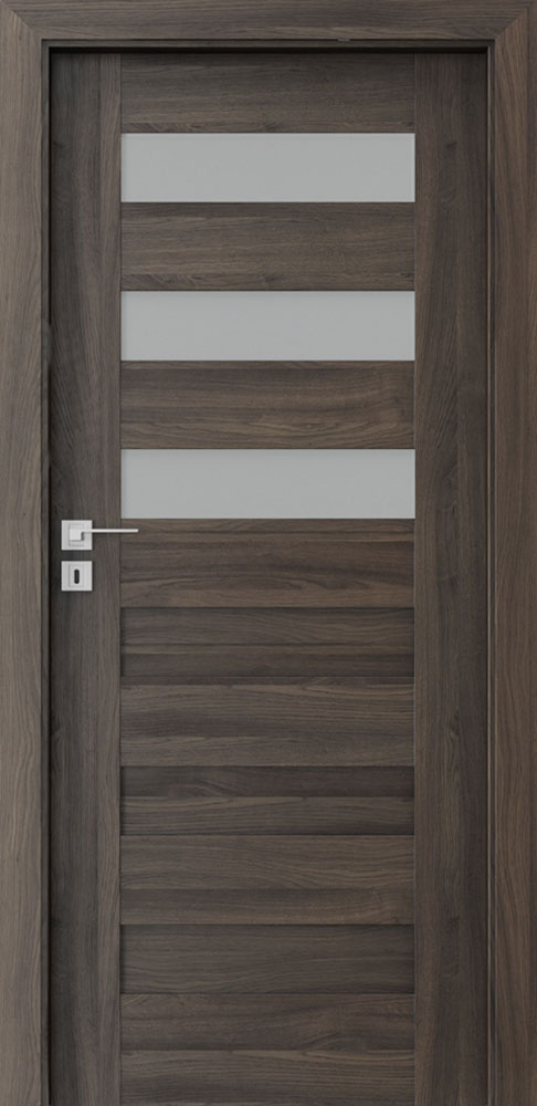 Ecco Dark Oak Solid Wood Front Entry Door - Single - DBEV-CNT-C3