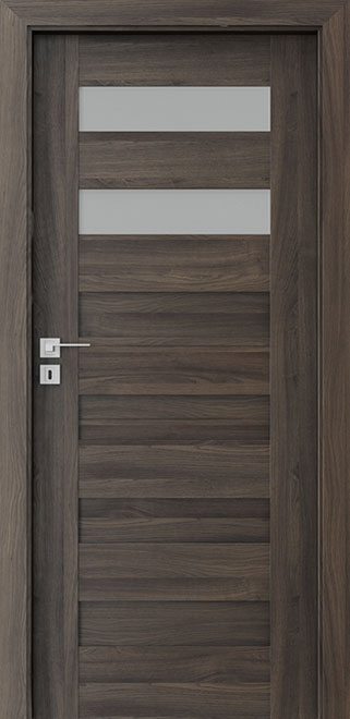 Ecco Dark Oak Solid Wood Front Entry Door - Single - DBEV-CNT-C2
