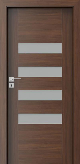 Ecco Walnut Solid Wood Front Entry Door - Single - DBEV-CNT-H4