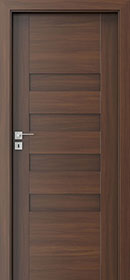 DBEV-CNT-H0 Walnut 4-  Wood Interior Door - Single