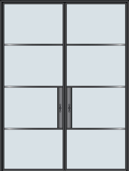 Steel & Glass Interior Door STL-W4-DD