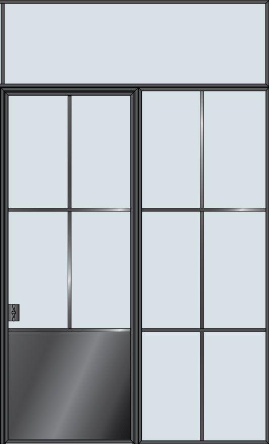Custom Interior Steel Door STL-W4P-1SL-TR