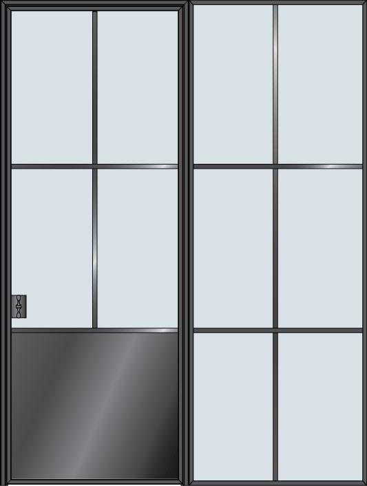 Steel & Glass Interior Door STL-W4P-1SL