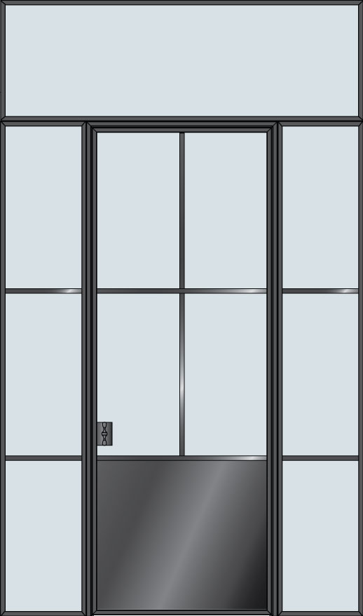 Steel STL-W4P-2SL-TR  Door Example - Single with 2 Sidelites with Transom