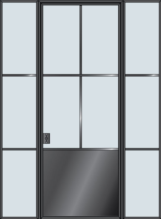 Steel STL-W4P-2SL  Door Example - Single with 2 Sidelites