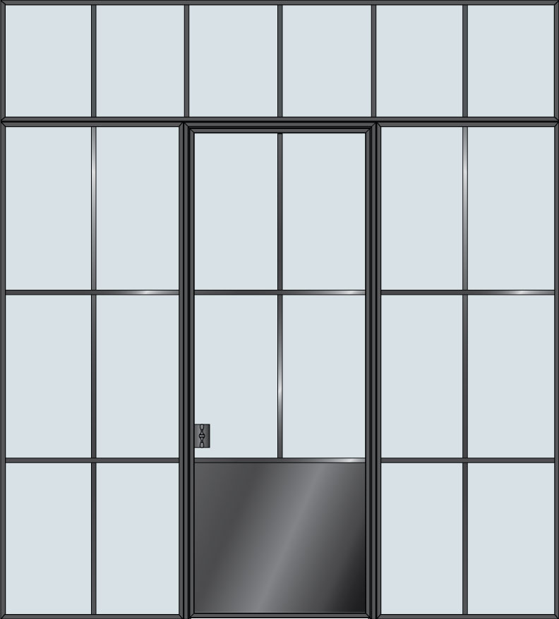 Steel & Glass Interior Door STL-W4P-2SL-TR
