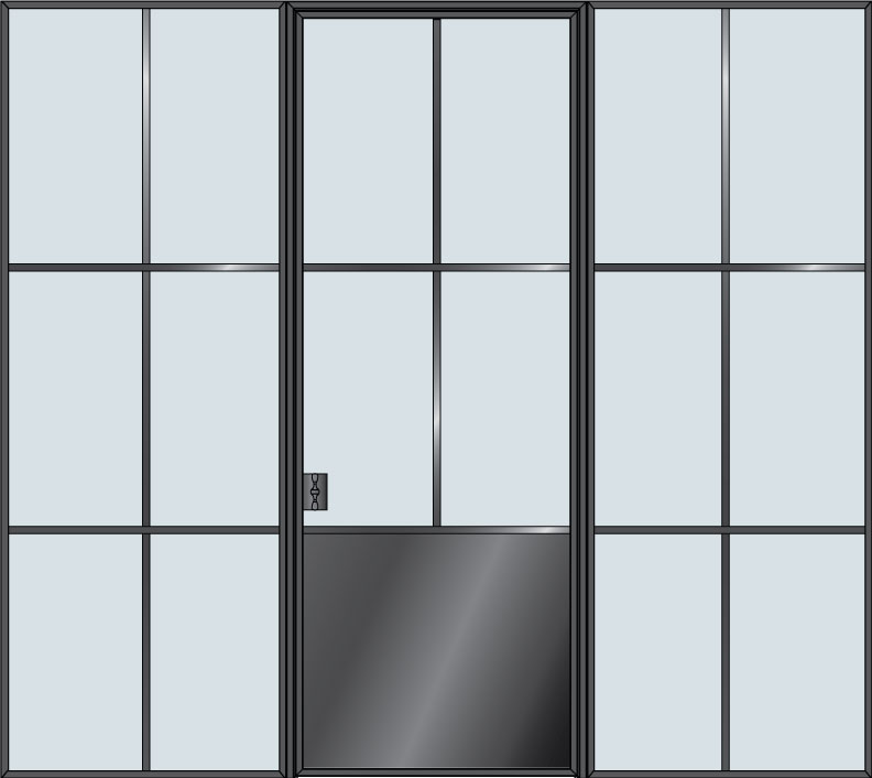 Steel STL-W4P-2SL  Door Example - Single with 2 Sidelites - Wide