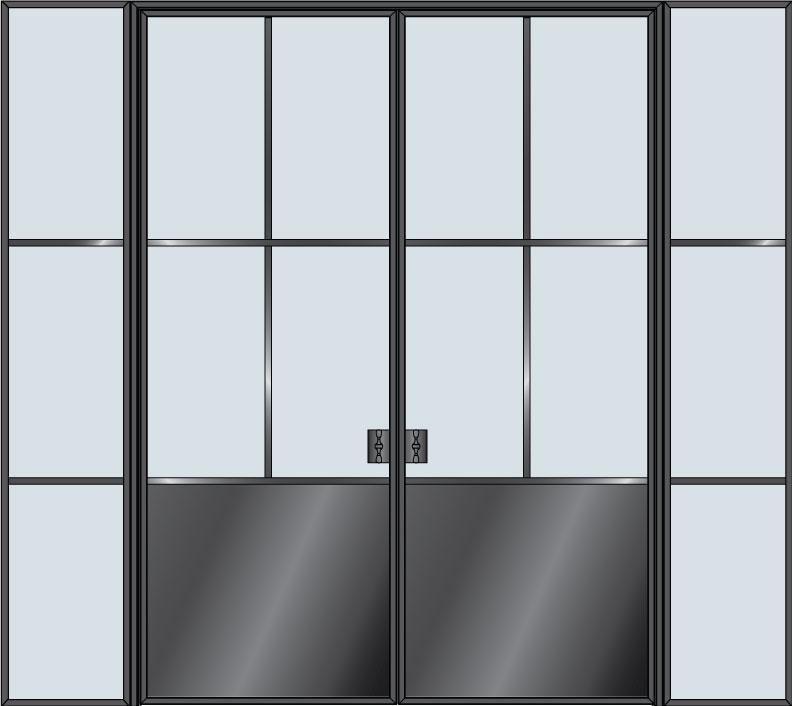 Steel & Glass Interior Door STL-W4P-DD-2SL