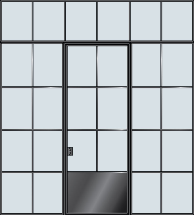 Steel & Glass Interior Door STL-W6P-2SL-TR