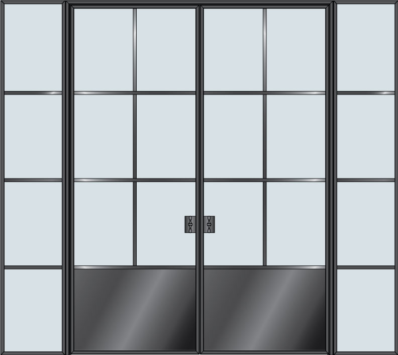 Steel STL-W6P-DD-2SL  Door Example - Double with 2 Sidelites