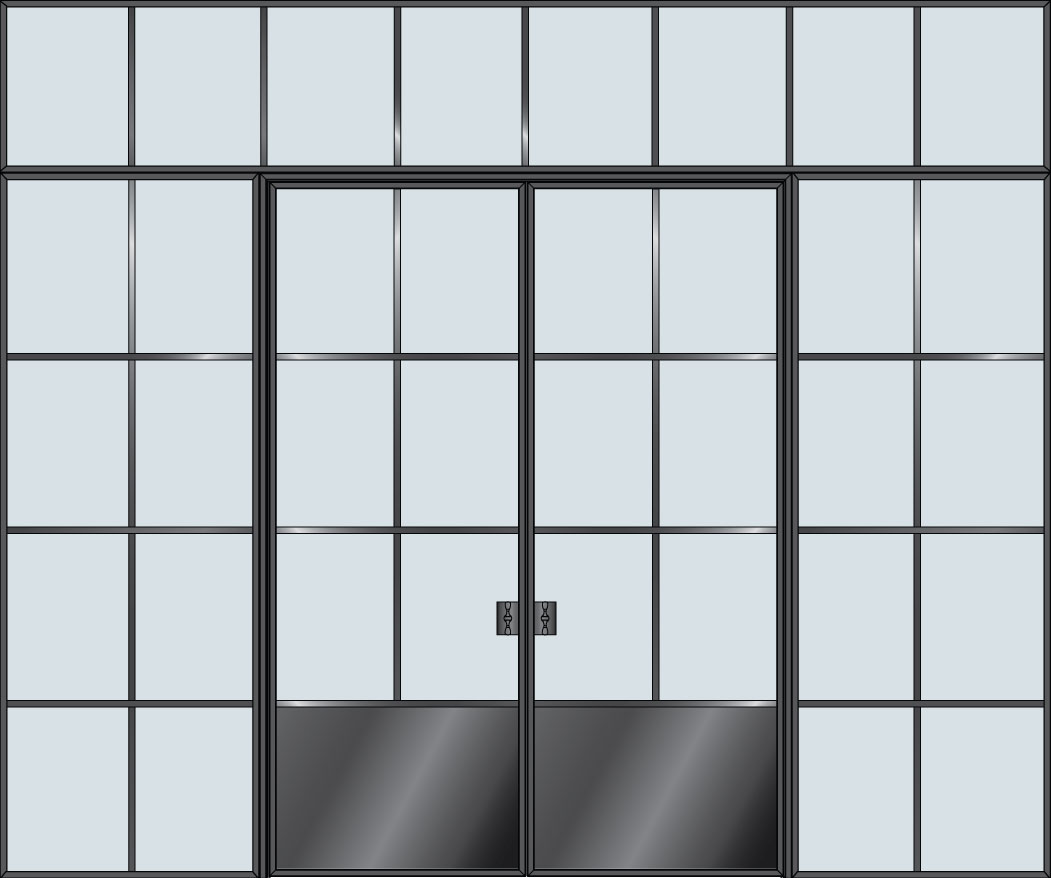 Steel & Glass Interior Door STL-W6P-DD-2SL-TR