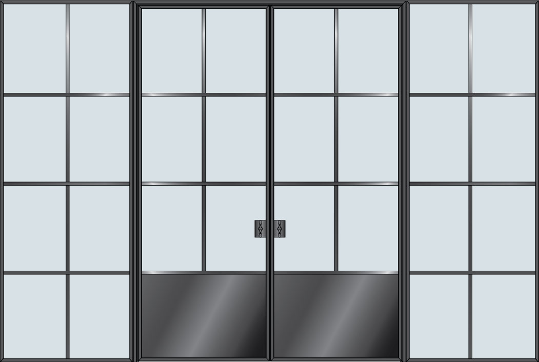 Steel & Glass Interior Door STL-W6P-DD-2SL