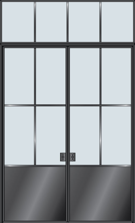 Steel & Glass Interior Door STL-W6P-DD-TR