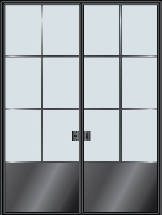 Steel & Glass Interior Door STL-W6P-DD