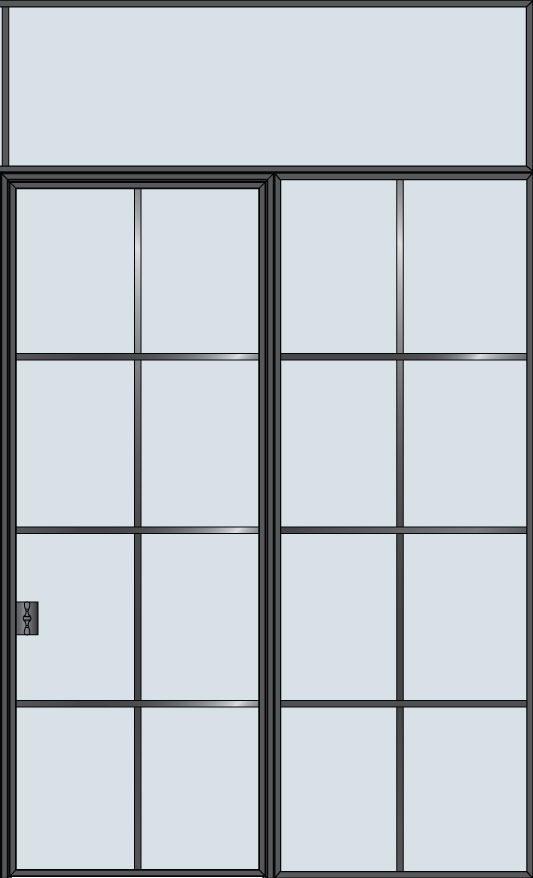 Steel STL-W8-1SL-TR  Door Example - Single with 1 Sidelite - Wide with Transom