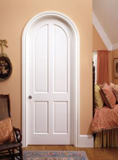 Arched-top-single-exterior-door-with-decorative-glass-Model-3004-Single Radius Top Interior Doors
