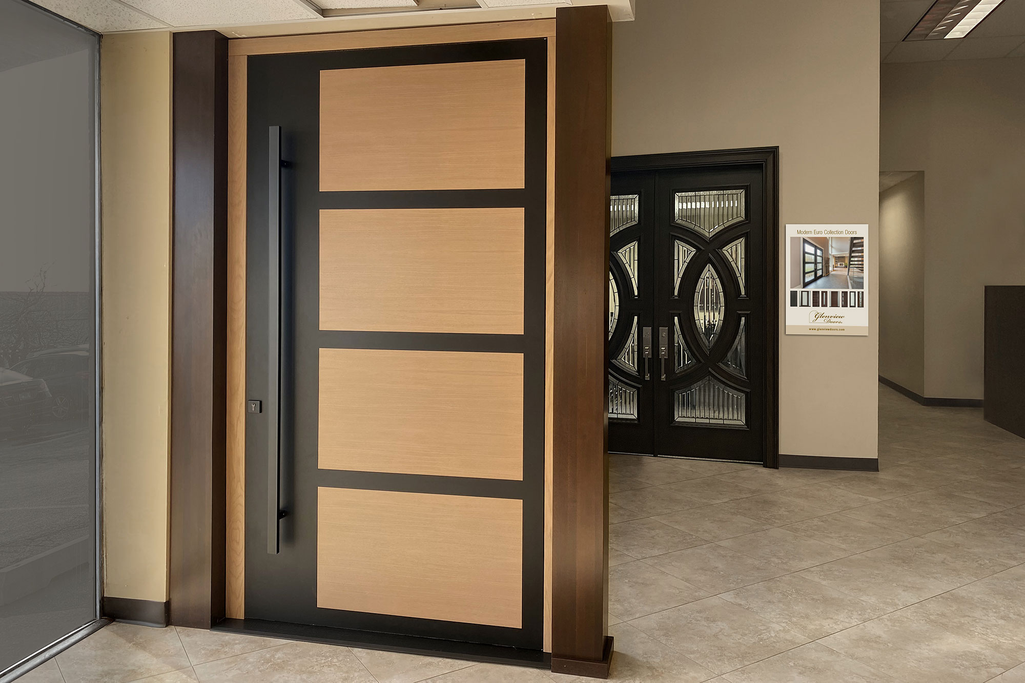 Pivot Entry Door On Display In Doors For Builders Showroom, Elk Grove IL